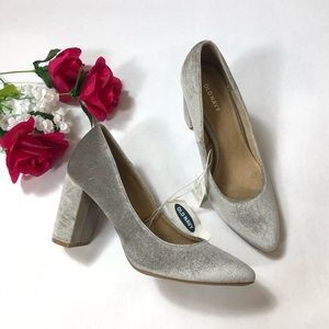 NWT Old Navy Velvet Gray Pointed Block Heel Pump